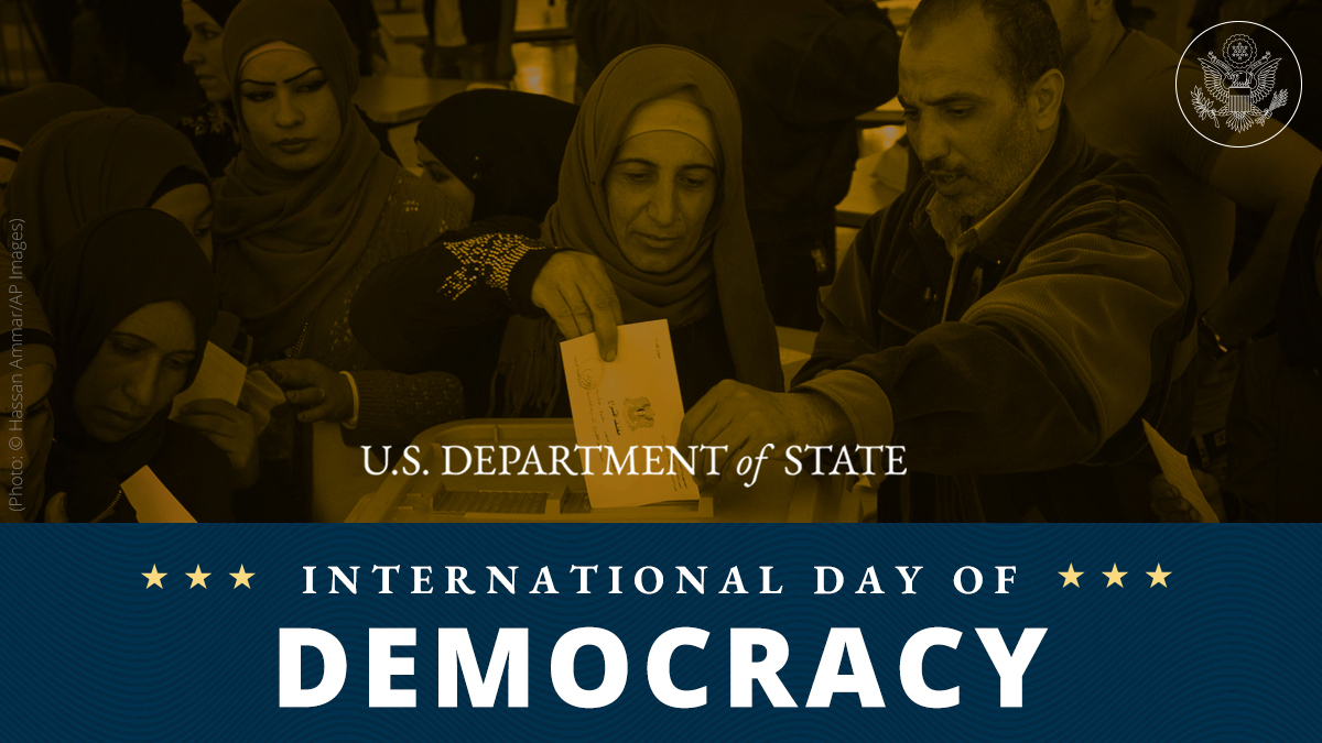 It is the fundamental right of every citizen, in every corner of the world, to participate in the process of democratic self-governance. Democracy has always been and will remain the greatest aspiration of people around the world who long to be free. #InternationalDayofDemocracy https://t.co/vRRRmCcye2