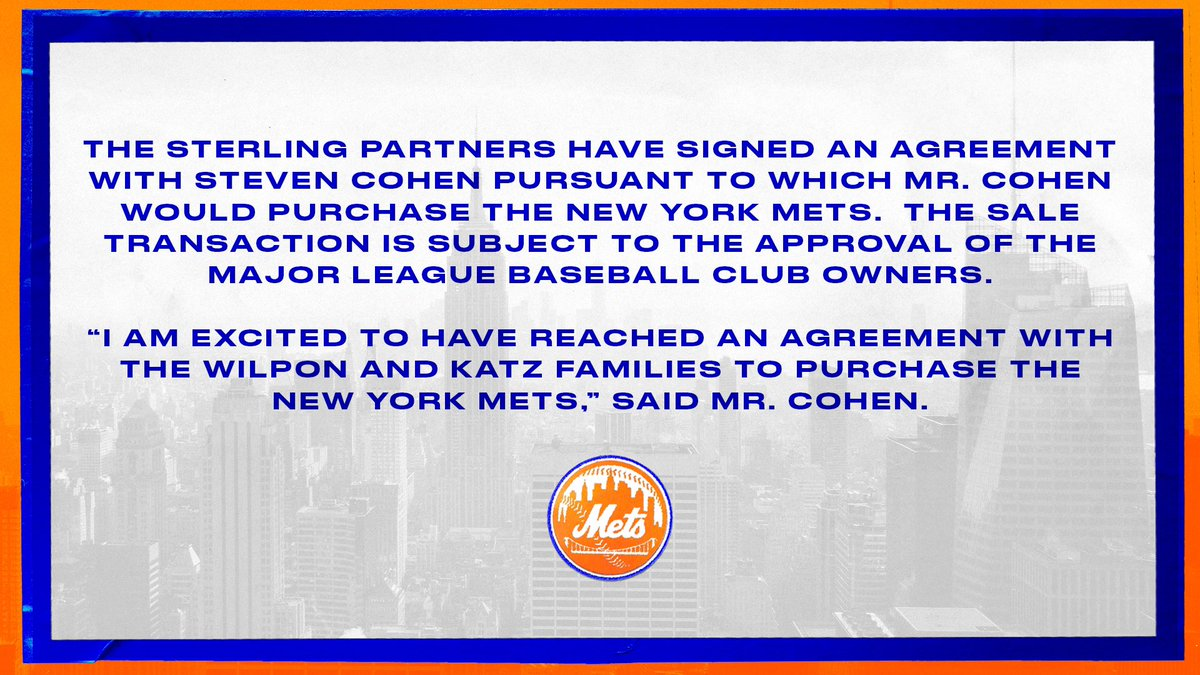 Sterling Partners sign agreement with Steve Cohen. #Mets https://t.co/ogzUcLFkeQ