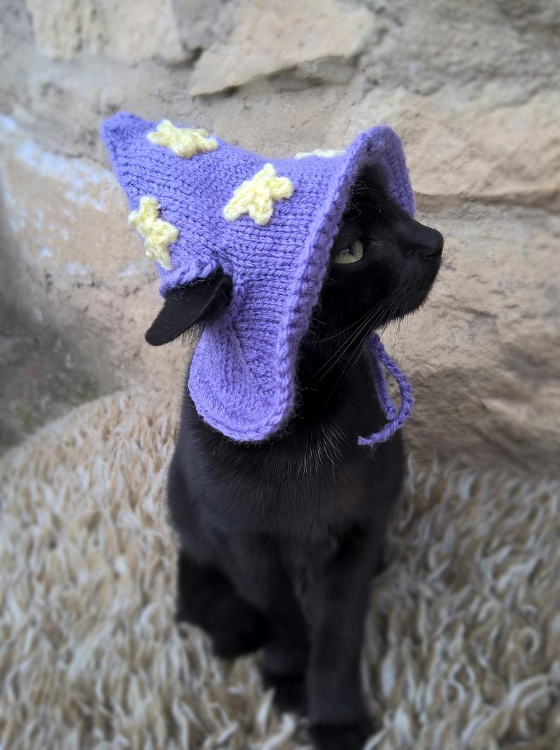 Black Cat Crochet Hat Halloween Kitty Hat Halloween Cat
