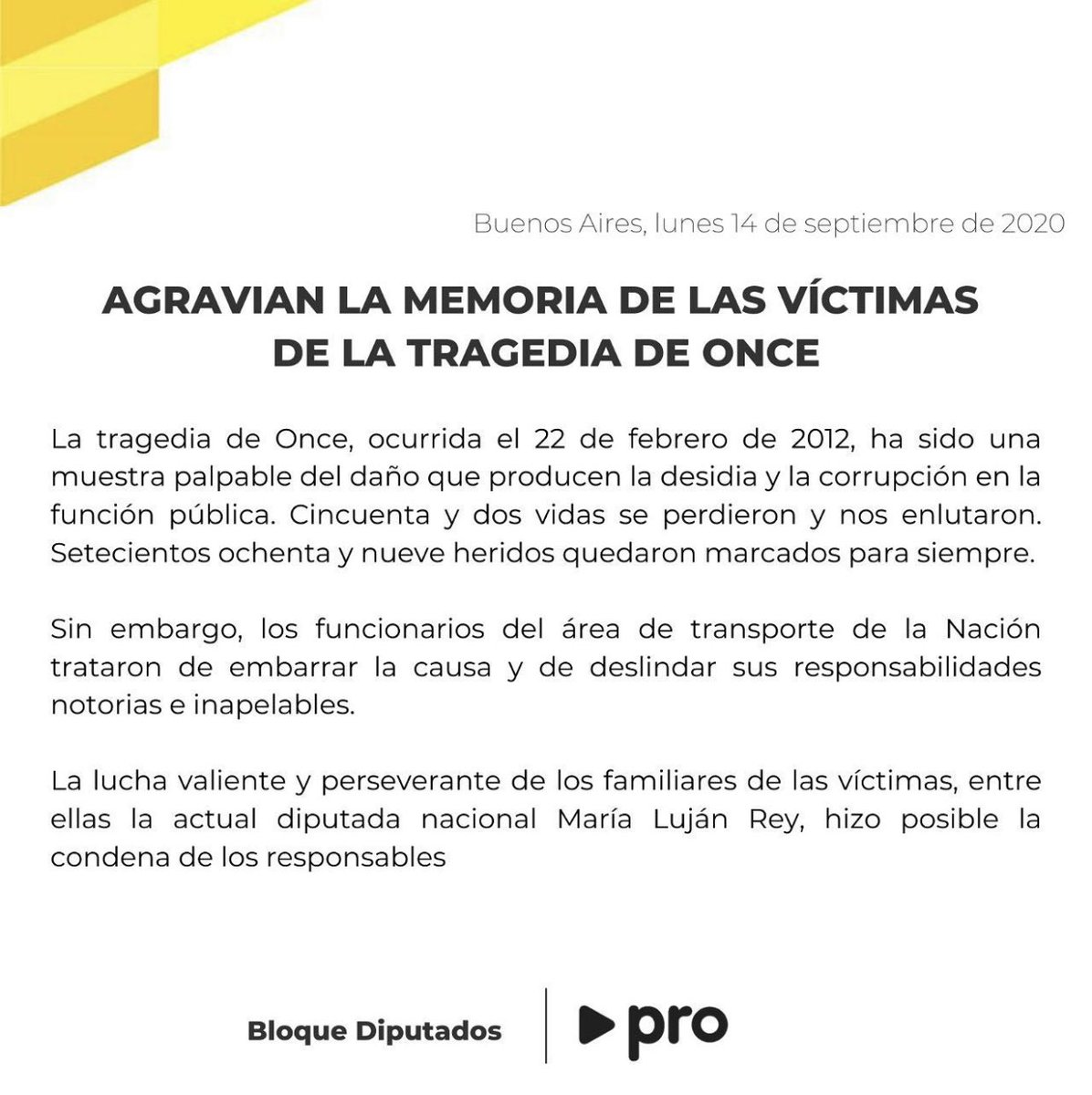 Agravian la memoria de las víctimas de la #TragediaDeOnce   @MariaLujan_Rey https://t.co/WmrdwP2hfc