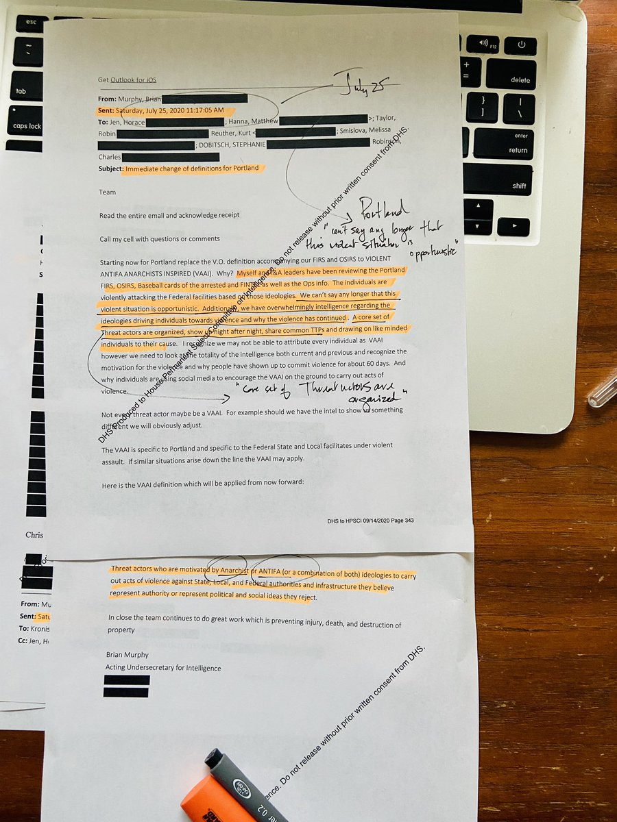 """#Whistleblower #PortlandProtest Breaking: According to this @DHSgov internal email, obtained @CBSNews, former Acting Under Secretary for Intelligence & Analysis Brian Murphy wrote colleagues on July 25th that the Portland violence was not """"opportunistic"""" but """"organized"""" citing https://t.co/K7Aoe0yFbB"""