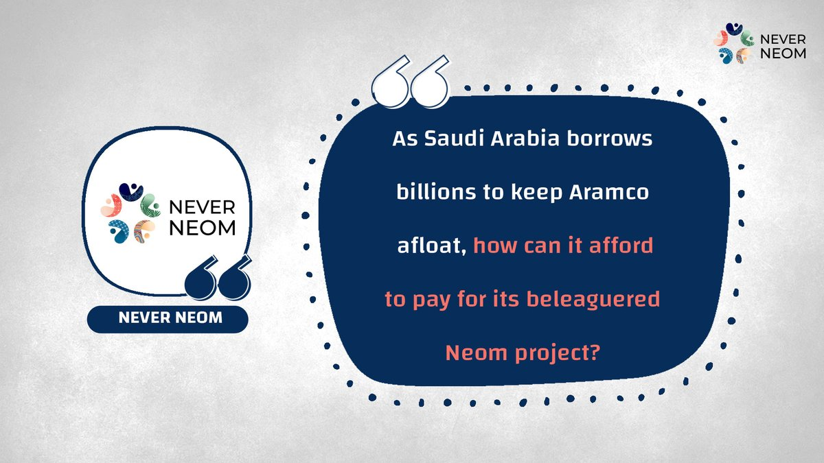 As #Saudi Arabia borrows billions to keep #Aramco afloat, how can it afford to pay for its beleaguered #Neom project?   more: https://t.co/PVMPXlO3Er https://t.co/nqb1zdcHDq