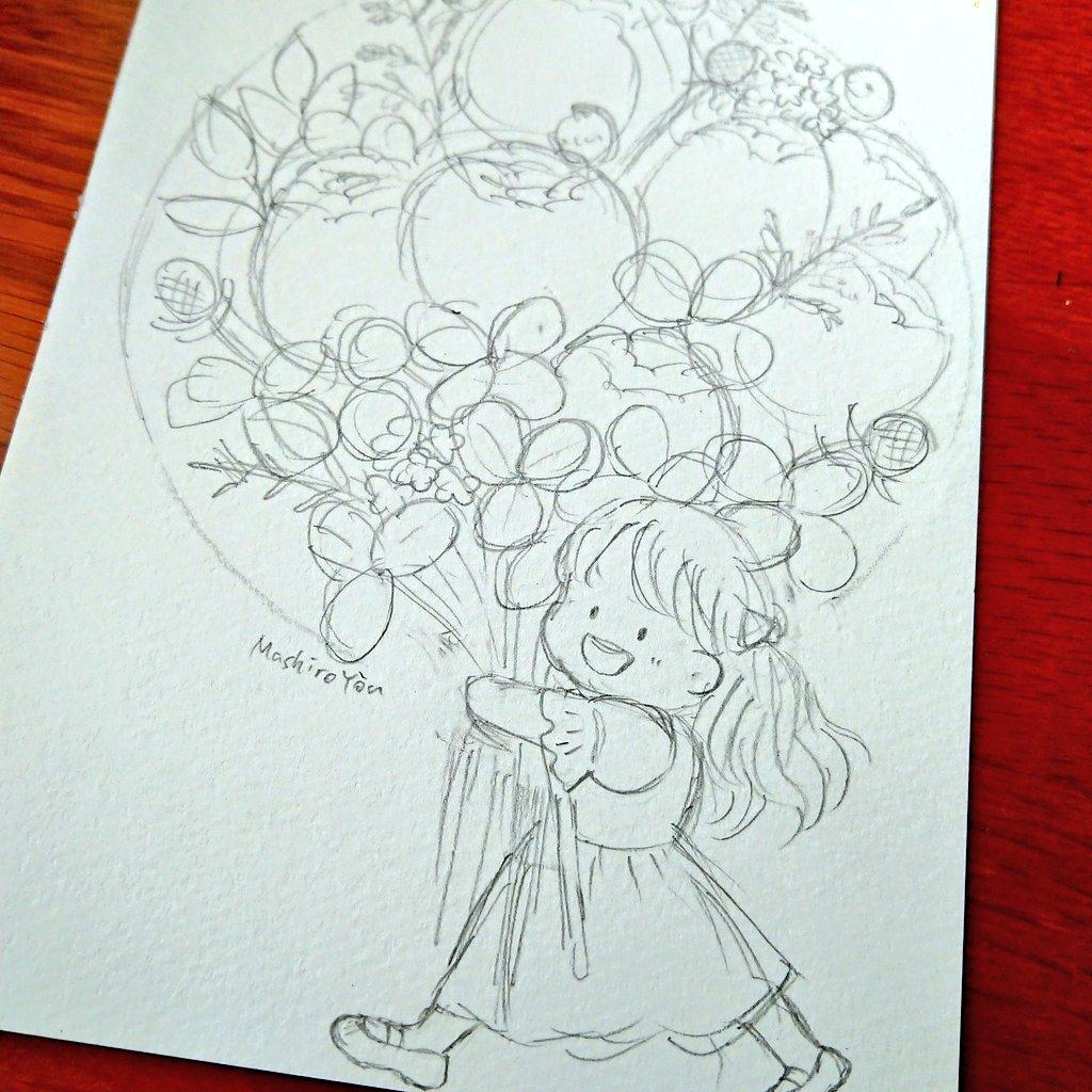 ラフです✏️✏️ 大きな花束💐 https://t.co/QeHO2fS6gF