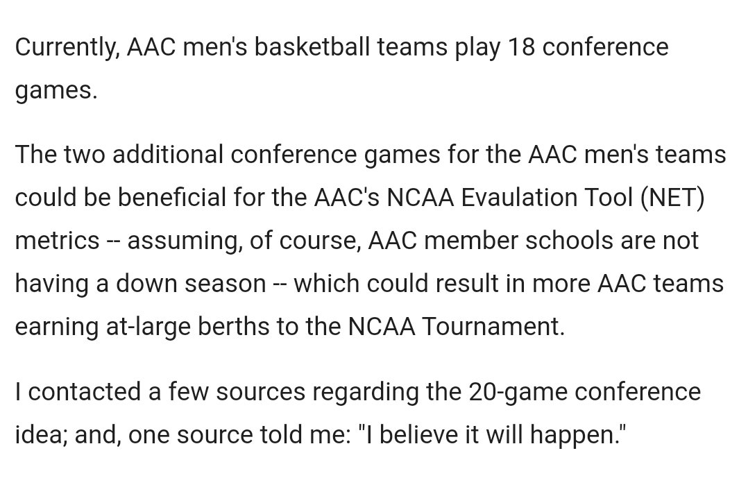 """I believe it will happen"" -- American Athletic Conference considering going to a 20-game conference schedule https://t.co/VarLa1n5Cw #ncaaM ⬇️ https://t.co/PzKU79Ayot"