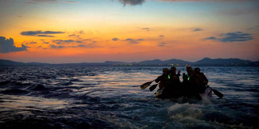 Into the Sunset Marines with the @31stMeu debark the @USNavy's #USSNewOrleans in a Combat Rubber Raid Craft during a boat raid exercise in @US7thFleet while operating as a ready response force to defend peace and stability for a #FreeAndOpenIndoPacific.