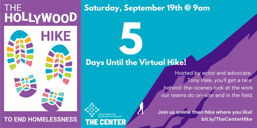 5 DAYS LEFT until were together (virtually) for the Hike to End Homelessness! Register for free at buff.ly/2GtZOoe today and join Tony Hale, our host for a behind-the-scenes look at The Center in Hollywood. #Hike #EndHomelessness #HousingForAll #EndIsolation #Hollywood