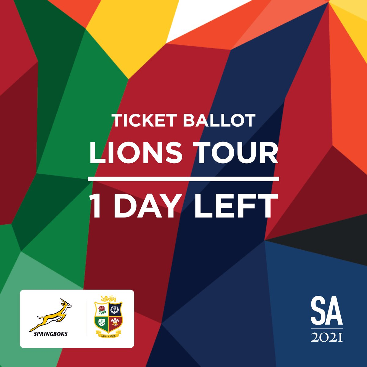 🚨 Don't miss out!  The ticket ballot for the British & Irish Lions Tour to #SA2021 closes tomorrow (Wednesday, 16 September) at 23:59 CAT.  Don't miss out on this spectacular event!  Ticket ballot: https://t.co/Aio7yCA40y More info: https://t.co/OUw5W2xDmw https://t.co/7Kx6bDpOuG