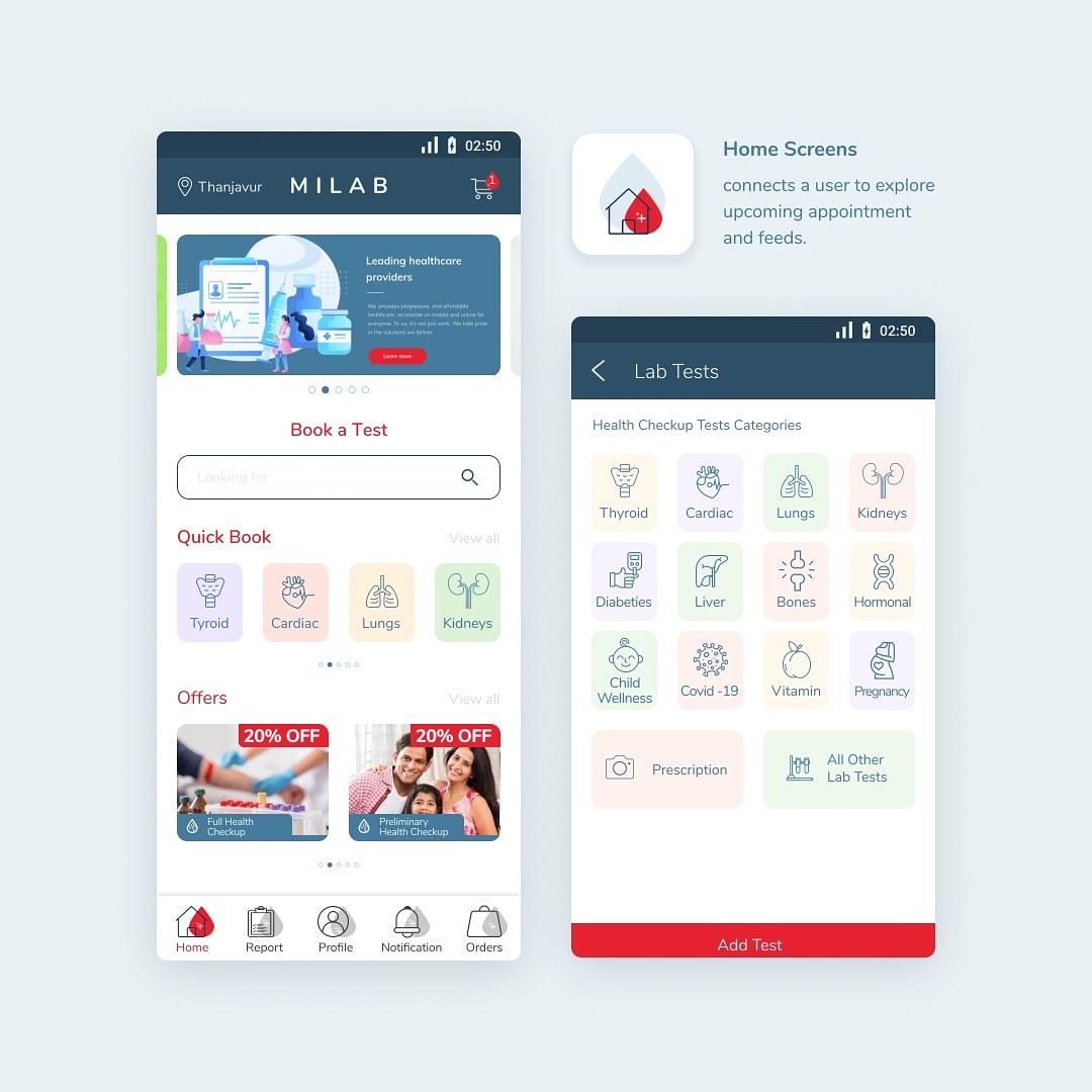 Solution for Lab test at doorstep. Mobile app project for Aspira student.   #solution #lab #laboratory #bloodtest #medicaltest #clinicaltest #healthcare  #uxdesign #uidesign #ui #ux #mobileapp #doorstepservice #studentwork #aspira #design https://t.co/XYo9KkCLze