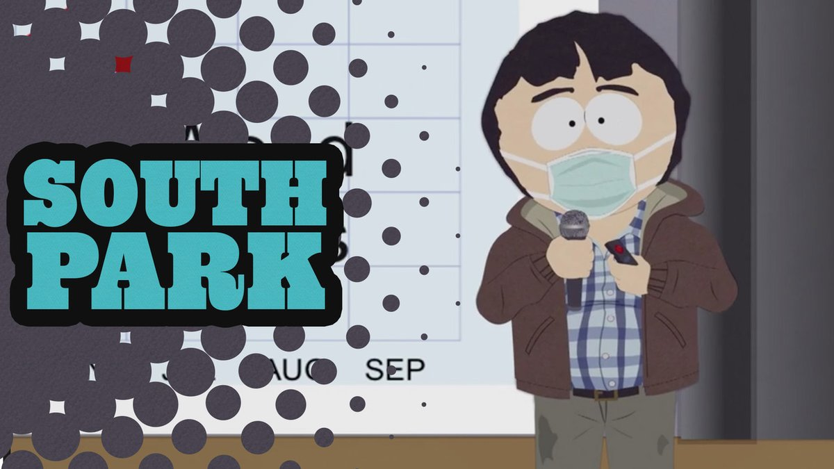 """The on-going pandemic presents continued challenges to the citizens of South Park, in the hour-long, supersized episode titled """"The Pandemic Special"""" premiering Wednesday, Sept 30 at 8p ET. https://t.co/wzyTXxjNtl"""