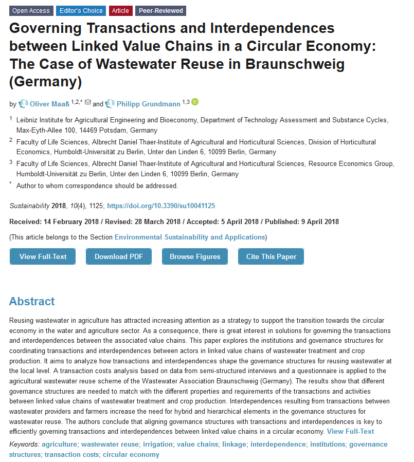 #SUSEditorialChoice  Governing Transactions and Interdependences between Linked #ValueChains in a #CircularEconomy: The Case of #WastewaterReuse in #Braunschweig (#Germany)  by Oliver Maaß and Philipp Grundmann from @HumboldtUni  https://t.co/wNIhqywbGY  #agriculture #irrigation https://t.co/ijFDlefvao