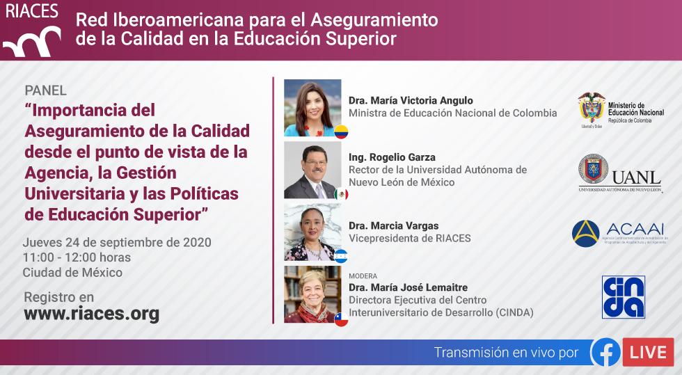 """La Red Iberoamericana p/el Aseguramiento de la Calidad en #EducaciónSuperior (@riaces_org) invita a dos eventos el 24 de Sep.: Webinar sobre """"Presencialidad restringida"""" Panel con @VictoriaBxE, @RogelioGzaUANL, M.Vargas y M.Jose Lemaitre (@CINDAeducacion) https://t.co/5ew9geP5SU https://t.co/e6eDuJhLjw"""