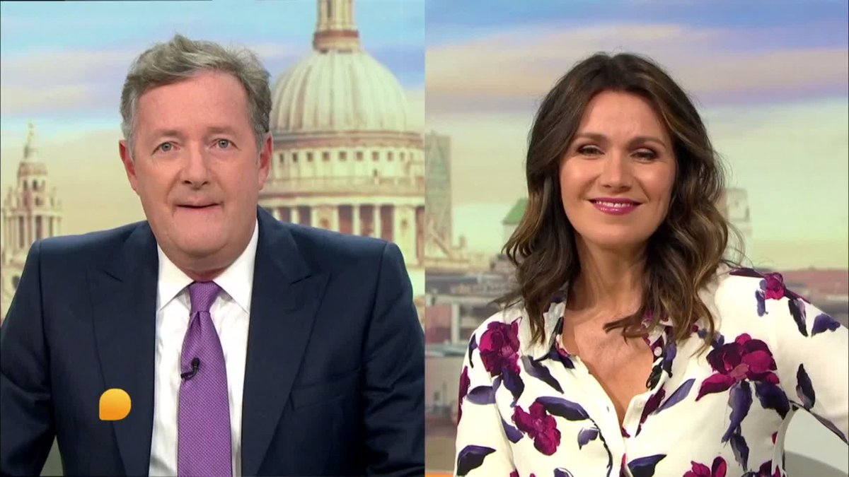 The magic of TV🎩 @Piersmorgan and @Susannareid100 are the closest they have been for months. 🥰 *Don't worry* no social distancing guidelines were harmed in the making of this scene.