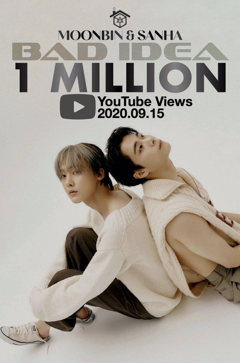 [#문빈_산하] INFO – 200915 After 20 hours, #BadIdea M/V has surpassed 1 million views (combined) on YouTube! Let's keep streaming, Rohas! 🤩🔥  🔗youtu.be/K0oSaCS0_98 🔗youtu.be/CeOGfPANy44  #MOONBIN_SANHA#IN_OUT #배드아이디어 #BadIdea#아스트로#ASTRO