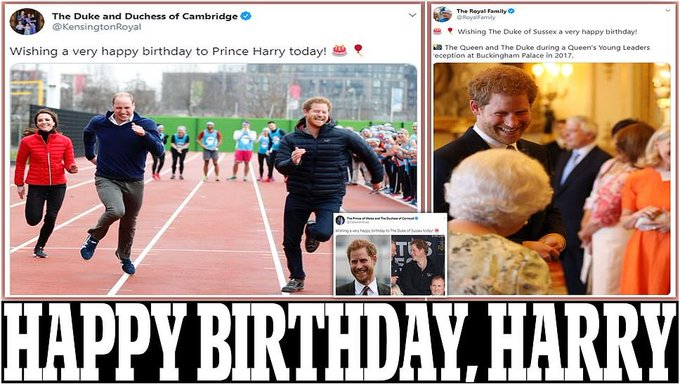 Prince William and Kate Middleton lead royal birthday tributes to Prince Harry Prince