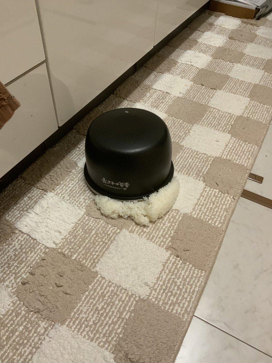全米が泣いた!炊いたお米を炊飯器の内釜ごとキッチンマットにひっくり返してしまった!