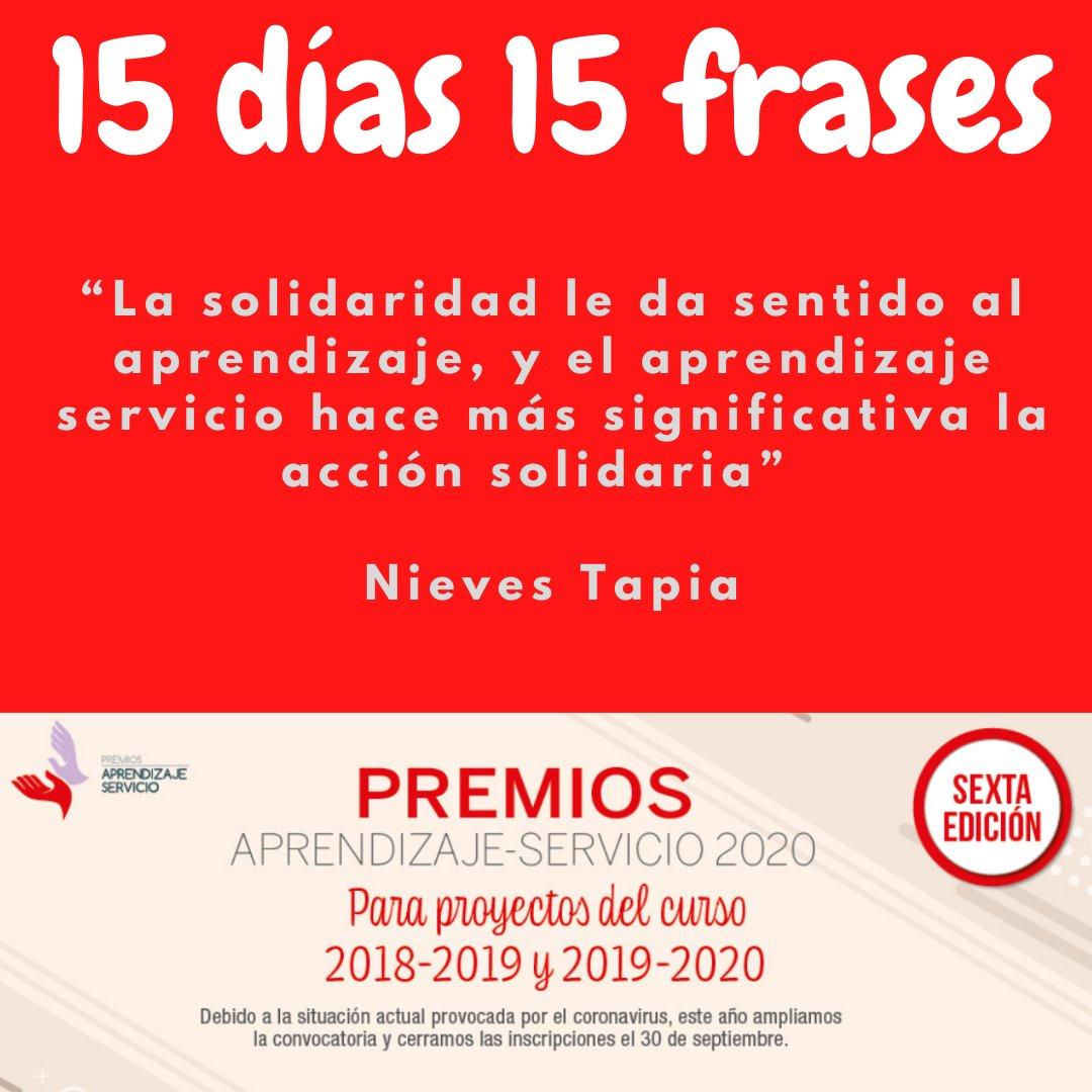 """15 días 15 frases #ApS """"La solidaridad le da sentido al aprendizaje, y el aprendizaje servicio hace más significativa la acción solidaria"""" Nieves Tapia. 👉👉Esperamos vuestros proyectos ⏳ hasta el 30 de septiembre  #PremiosApS20.  @NievesTCLAYSS  @GRUPOEDEBE  @educaciongob https://t.co/KIsnZ3vZf0"""