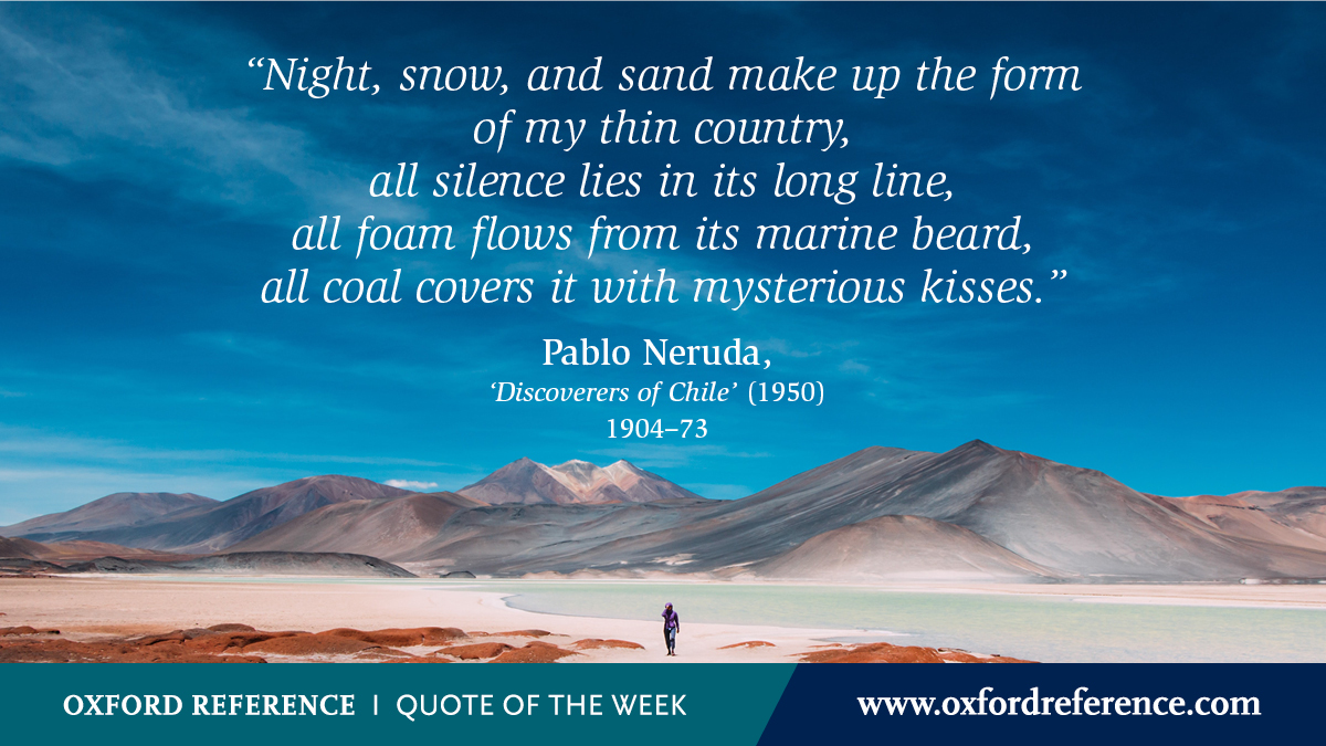 Today marks the beginning of National Hispanic Heritage month, and we're celebrating with a quote from former senator of Chile and Nobel Prize-winning poet, Pablo Neruda: https://t.co/2I8QYSUxGS #QotW https://t.co/ZxFkv0afZo