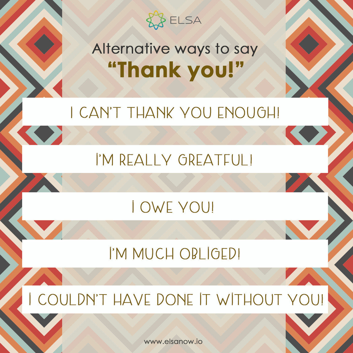 We thank you all for following us. Keep spreading the joy by thanking someone who helps you. Here are some more ways for you to say thanks. Download Elsa speak at https://t.co/bENiEpfRpe to learn spoken English. #EnglishTips #SpokenEnglish #PracticewithElsa #LearnMore https://t.co/H56ZcjnEDt