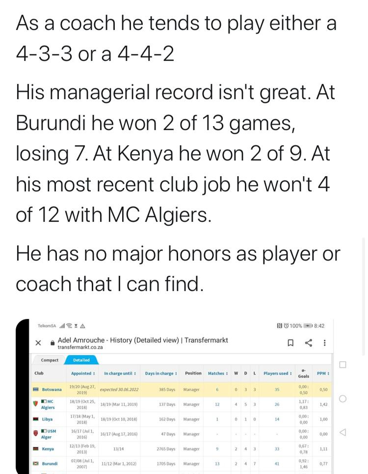 @KaizerChiefs if this Adel Amrouche s true with this kind of numbers n empty cup cabinet then we should just as well sing RIP song on our beloved team 😭😭😭 even to be linked wth this cow s an insult https://t.co/frQ63htCM5