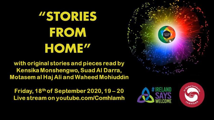 """Comhlámh and @IRLsaysWelcome are delighted to be hosting our annual multi-cultural #CultureNight Night. Join us virtually for an evening of """"Stories from Home"""" with stories and pieces written and read by four guests from the refugee and migrant community living in Ireland. https://t.co/72o5bVm9l7"""