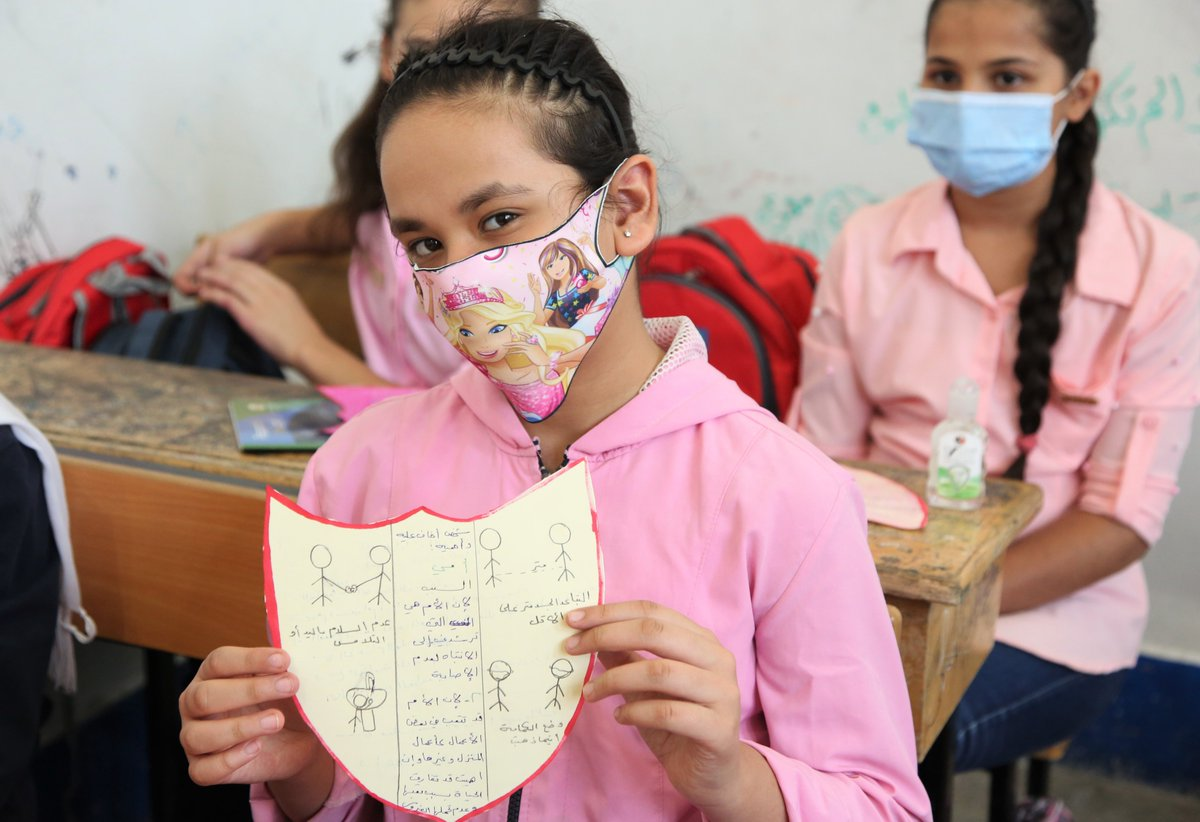 """Students at @UNRWA Palestine School in Damascus had a creative way to discuss preventive meausres against of #COVID19 through a """"Shield of Protection"""" psychosocial support activity that involved everyone using drawings to explain how they can stay safe. https://t.co/QKHEB9ypxH"""