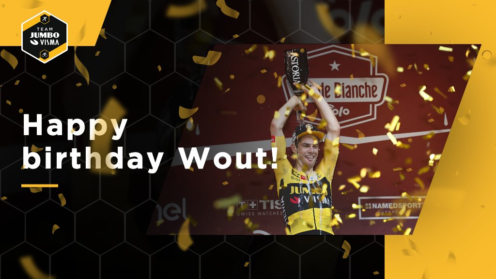 Champagne for our birthday boy!🍾 Happy 26th birthday @WoutvanAert🥳 https://t.co/teFo8PcFD8