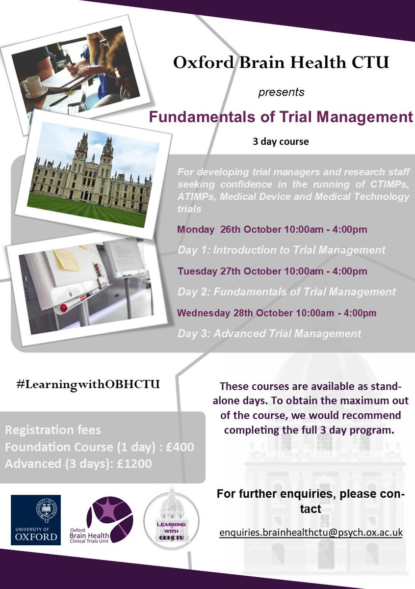 There is still time to register for our Fundamentals of Trial Management training course to be held in October. Please see attached flyer below for details!  #LearningwithOBHCTU #TrialManagement #OxfordBrainHealthCTU #clinicaltrials https://t.co/aUirmwYf3z