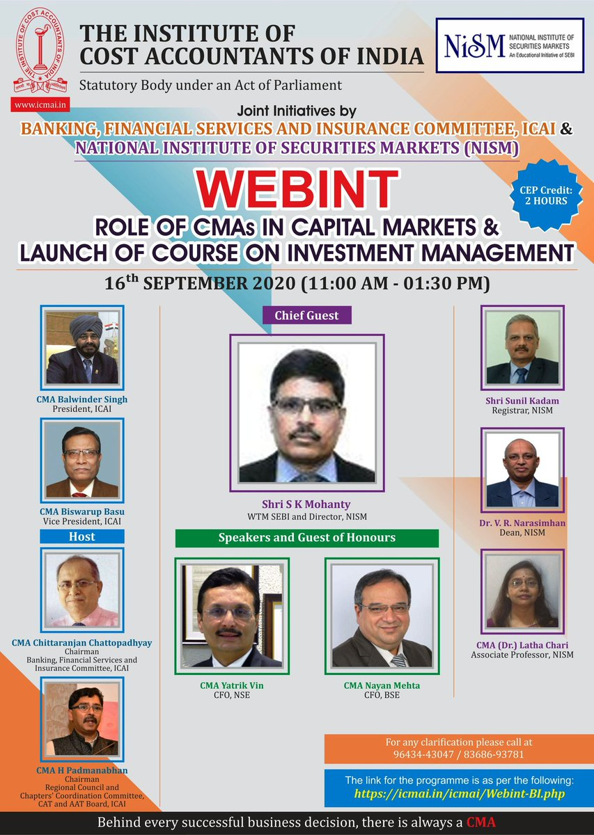 Joint Initiatives with the Institute of Cost Accountants of India and NSIM. WEBINT on Role of CMAs in Capital Markets & Launch of Course on Investment Management on 16th September 2020 from 11 a.m. to 1.30 p.m. https://t.co/7hIUubyinZ https://t.co/cJgCnzKRbx