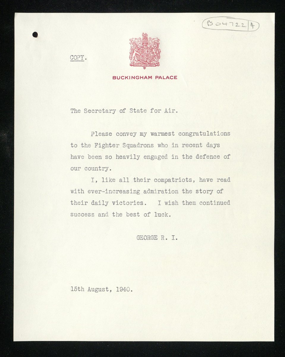 'Please convey my warmest congratulations to the Fighter Squadrons who in recent days have been so heavily engaged in the defence of our country.' In August 1940, King George VI sent this message to Fighter Command. #BattleofBritain80 #BattleofBritainDay