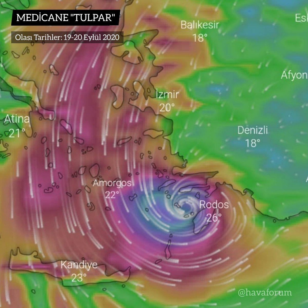 """Akdeniz ve Ege'de görülmemiş meteorolojik hareketlilik yaşanıyor. Meteorolojik tahmin modelleri tropikal medicane olarak adlandırılan kasırga benzeri hadise senaryosu üretiyor. Doğa olaylarına ilgi duyanları, """"Tulpar"""" fırtınası heyecanlandırıyor. 🌪🌀  #TulparFırtınası #Tulpar https://t.co/HkjpoVLSSp"""
