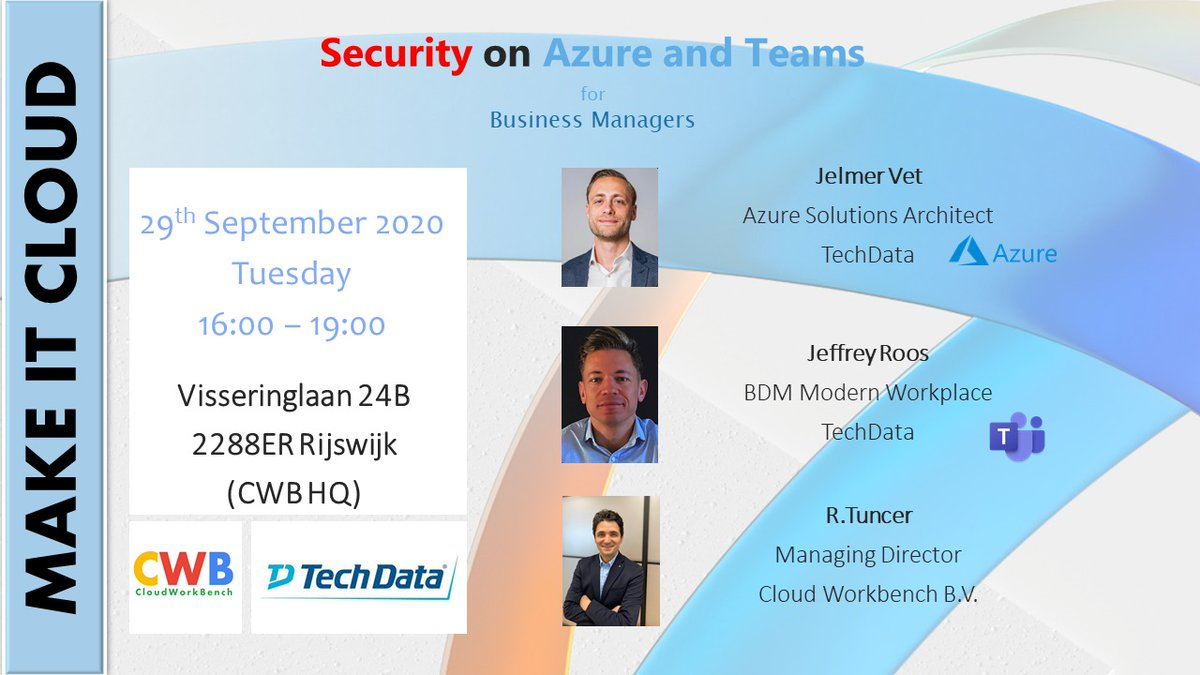 We are hosting a new event this month. It's aiming business managers and Microsoft Experts will cover how #Azure can help your #data #security #policy. . . . . Registration link is in bio👆🏾  #ict #azure #freeevent #microsoftevents #rijswijkmicrosoft #silverpartner#meettheexpert https://t.co/36rQFZvM1P