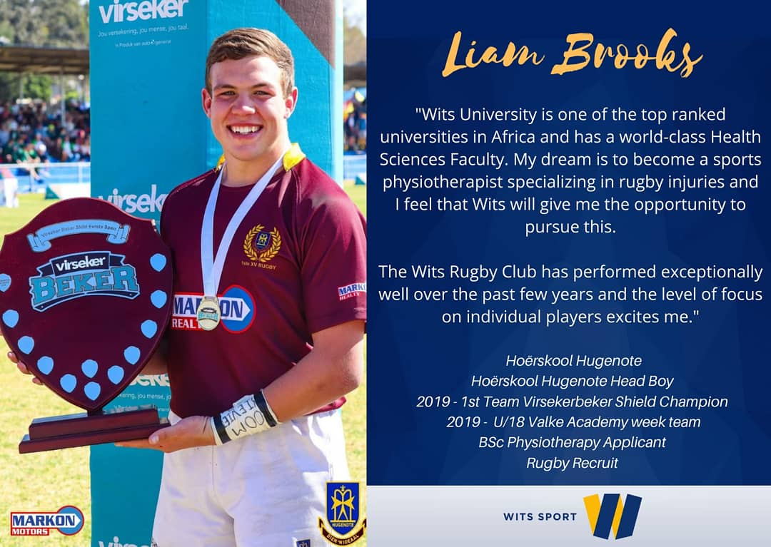 🏅🏉#Chooseday #ChooseWits  Meet Liam Brooks, Head Boy at Hoërskool Hugenote.   This is why he would like to pursue his studies @WitsUniversity next year.   #WitsSport #WitsRugby #StudyAtWits  #ILoveWitsILoveTheBlues https://t.co/cxfDVItS9S