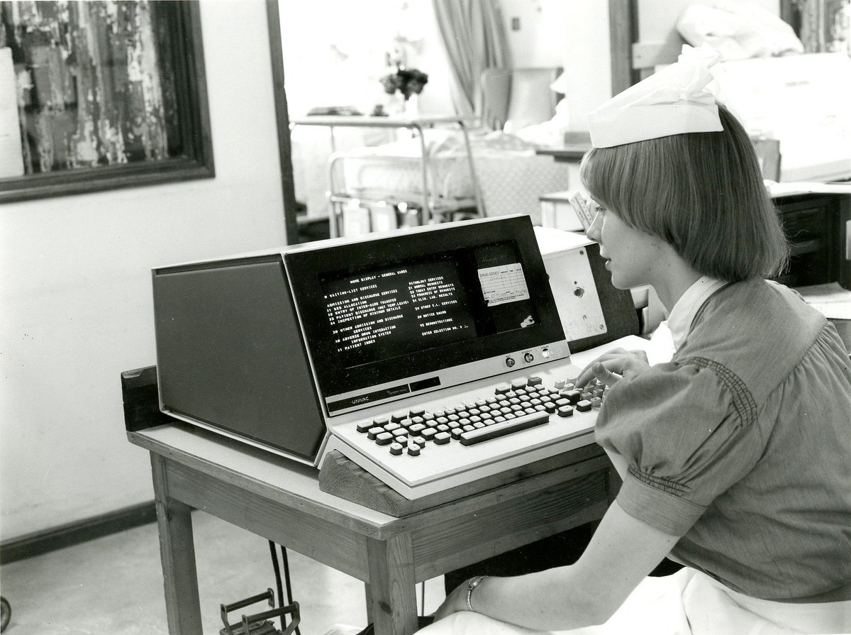 Look how far our technology has come! #TransformationTuesday  This photo documents a nurse generating computer records on new system at our hospital and it was taken in 1975 💻  Thanks @BHAandM #RLH280 https://t.co/rBz2gbtLA5