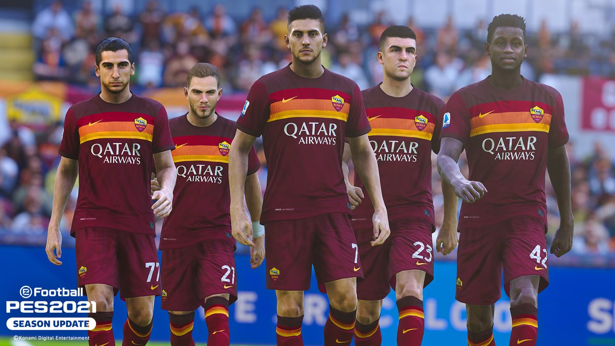 Calling all Roma fans! 🟨🟧🟥 eFootball #PES2021 SEASON UPDATE is out NOW! Play exclusively with #ASRoma and grab your copy of @officialpes today! 🎮 More ➡️ konami.com/wepes/2021/