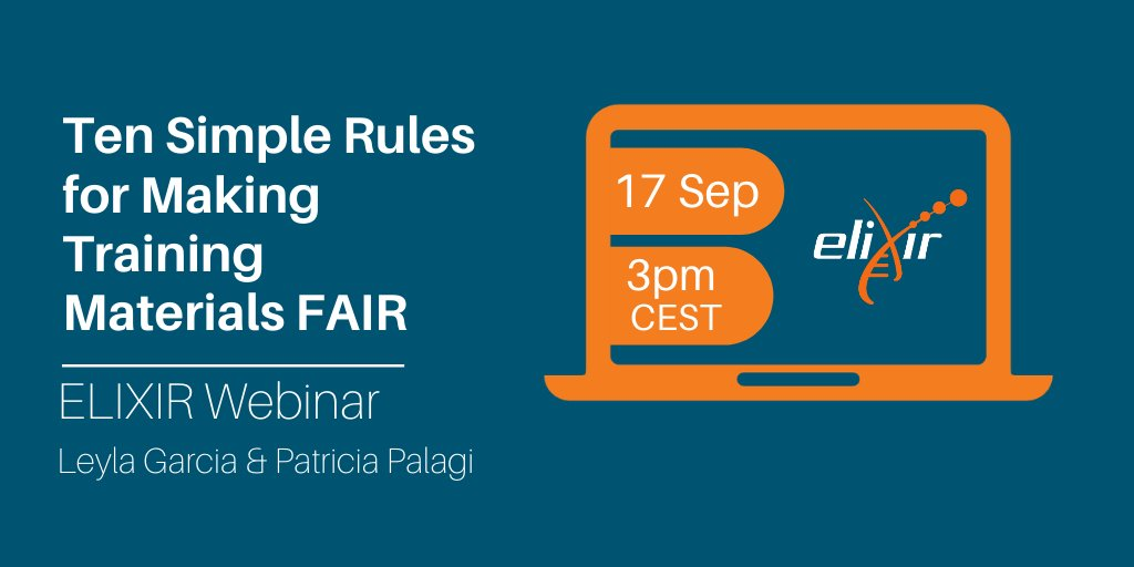 Join us this week for the next #ELIXIRWebinar: @lj_garcia & @P_Palagi will talk about how to make training materials FAIR: Findable, Accessible, Interoperable & Reusable!   📅 Thu 17 Sep, 3pm CEST  ➡️ https://t.co/vXsEUChKcI    @EBItraining @GobletOrg @BioInfoCambs https://t.co/cw9cHIcpCa