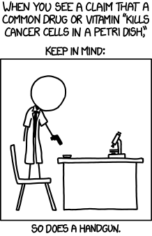 A good summary of the recent Echinacea #SARSCoV2 study that made some headlines in Switzerland.  But also good to keep in mind a simple general rule by XKCD for cell-based studies: https://t.co/FR8Lz0YXKj  (Some things do work, of course - but don't be too hasty in conclusions) https://t.co/kdGeQUNMDv https://t.co/80Dghi5vFW