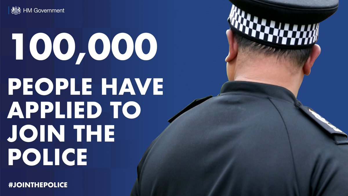 It's fantastic to see that more than 4,300 have joined the police and more than 100,000 people have applied.  We're delivering on our promise to recruit 20,000 officers to make our streets safer. https://t.co/YMrMP7P4XC