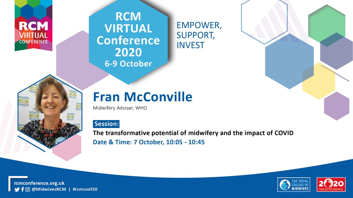 """*SPEAKER ANNOUNCEMENT* @franmcconville will be at this year's #rcmconf20. She will be joining the session on """"The transformative potential of midwifery and the impact of COVID"""". Join our first #virtual conference here: https://t.co/4WsXPpl9TZ https://t.co/G2FbdKP7Gt"""