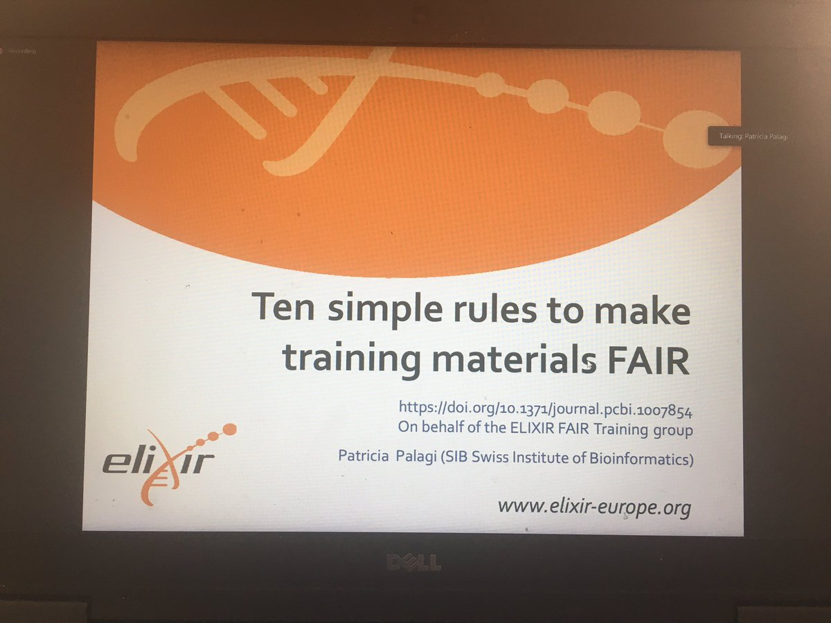 Patricia Palagi (@P_Palagi) is currently giving a presentation on the ten simple rules to making training materials FAIR. Findable, Accessible, Interoperable and Reusable is the meaning of FAIR . First rule is a sharing! Tenth rule is keeping materials up to date #GOBLETAGM2020 https://t.co/iBiUaxuUNg