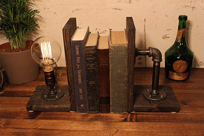 Industrial Bookend Steampunk table pipelamp https://t.co/gUVOOofj8B  #industrial #interiordesign #steampunk #bookend #woodworking #Ad