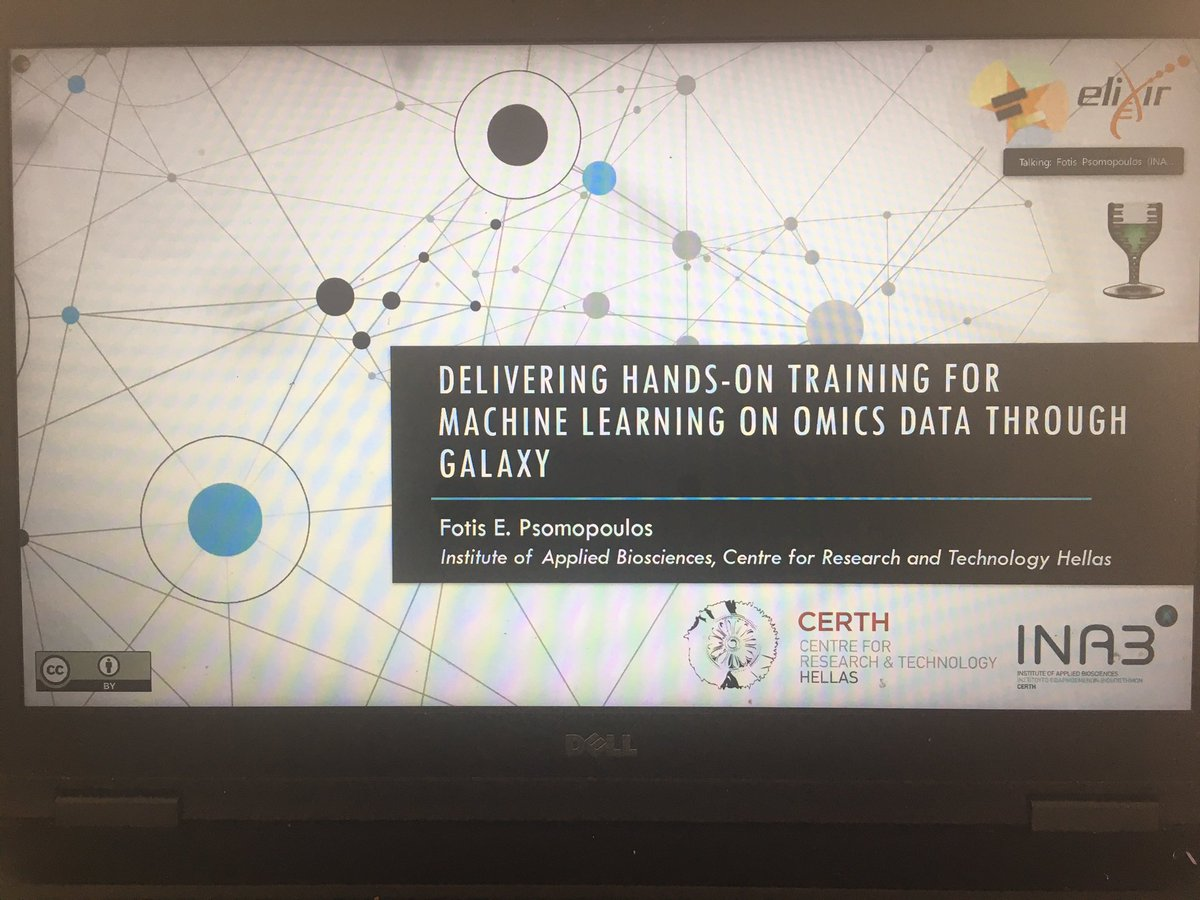 Currently listening to and watching a presentation by Fotis @fopsom giving an overview of Machine Learning Using Galaxy. First one was organized by @galaxyproject and @ELIXIREurope. The feedback from over 200 participants was positive #GOBLETAGM2020 https://t.co/OgzPoIJnsa