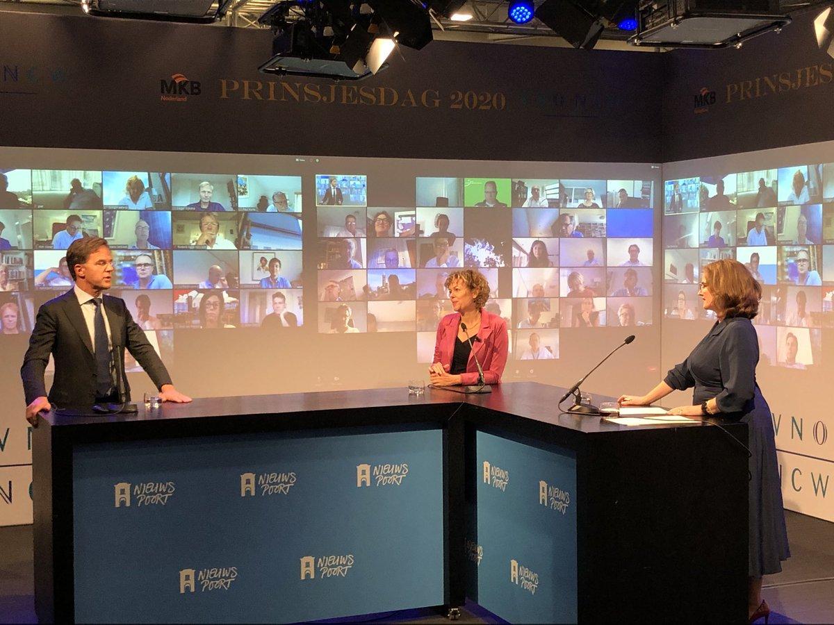 En @MinPres is binnen om in gesprek te gaan met @IngridThijssen over de #miljoenennota2020 #vnoncw #Prinsjesdag2020 https://t.co/yNSsLLQ6Wb