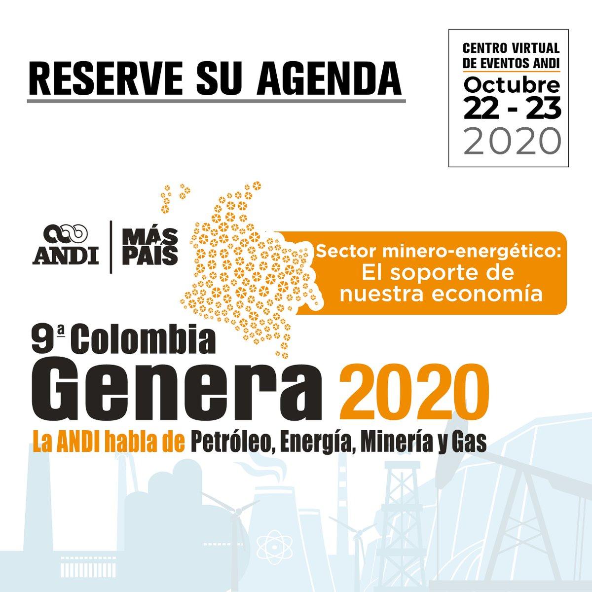 Del 22 al 23 de octubre se debatirá el futuro de la matriz energética en el país durante la 9a. #ColombiaGenera que tendrá lugar en el Centro Virtual de Eventos de la ANDI. Más información sobre este evento: https://t.co/DuUXJorbEJ https://t.co/W6b5ptofAF