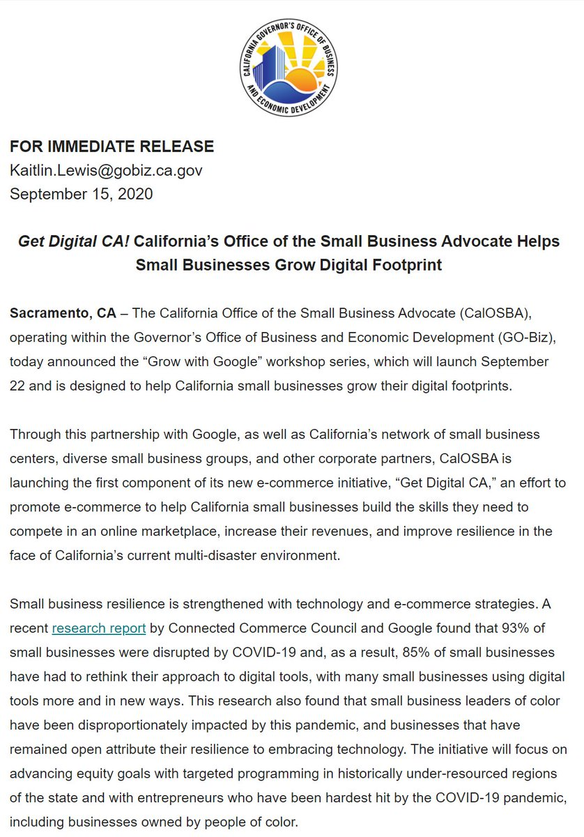 """.@CaliforniaOSBA Helps Small Businesses Grow Digital Footprint  """"This initiative will give our small businesses the extra help they need to go from surviving in a digital marketplace to thriving,"""" said @IsabelCGuzman. #GrowWithGoogle  #GetDigitalCA ➡️ https://t.co/CooCF6KZoT https://t.co/v15XvTlpwz"""