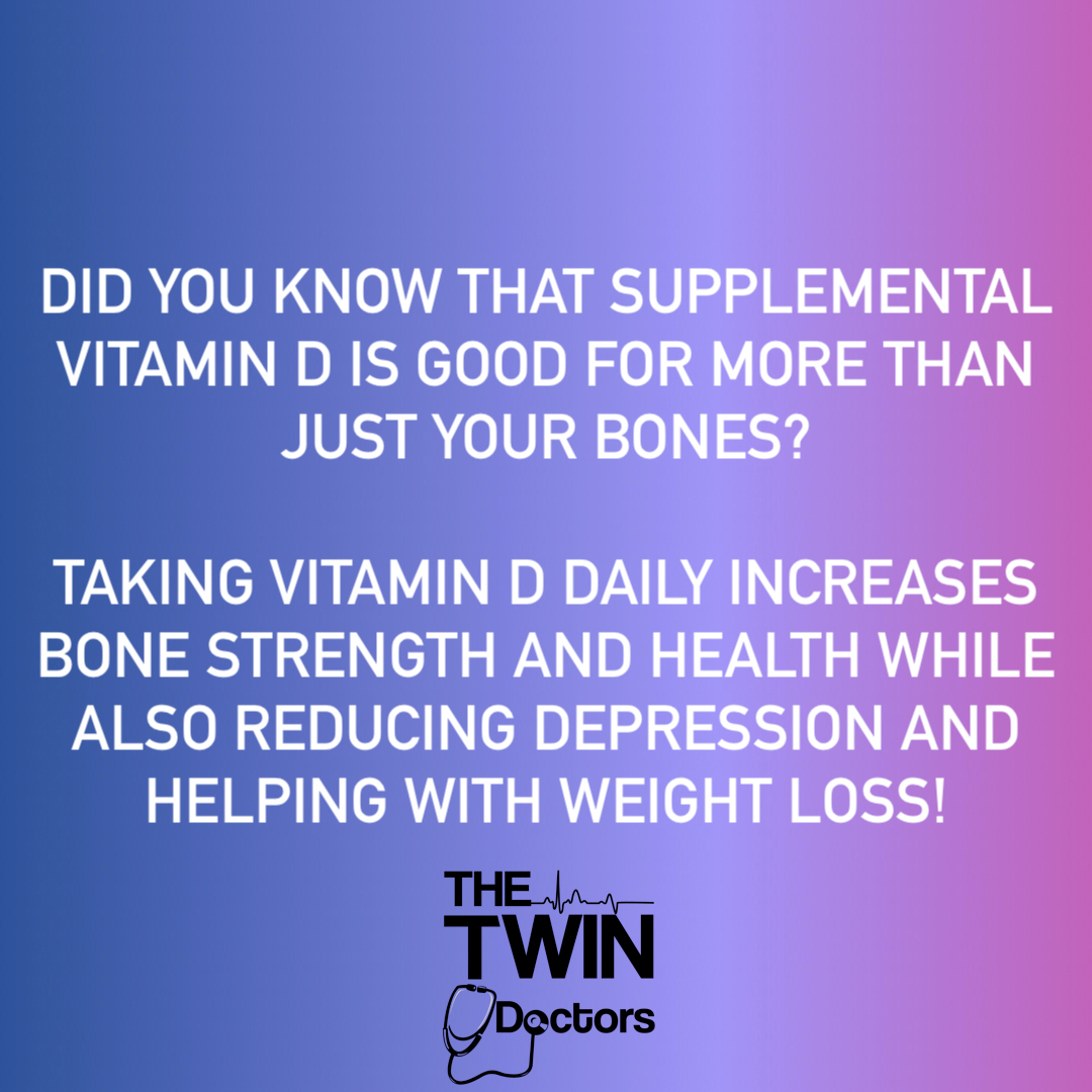 Do you take Vitamin D? #VitaminD could be considered a wonder drug!! It strengthens your bones and your immune system while reducing depression. 800IU of Vitamin D a day can help to keep the doctor away!!   #TheTwinDoctors #TheTwinDocs #TwinDoctorsTV #TwinDocsTravel #Depressi ... https://t.co/wPkN2s1xVa