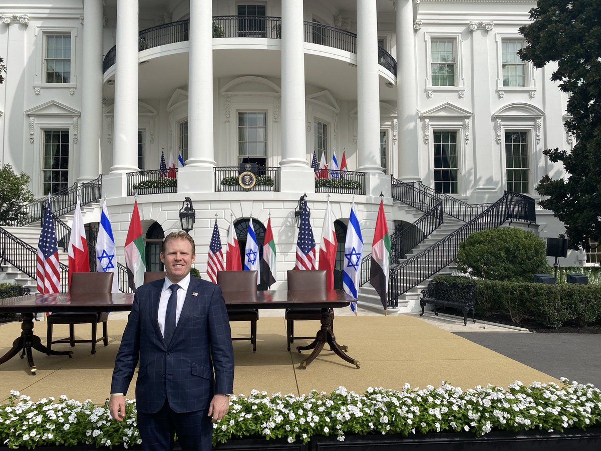 A truly historic day at the ⁦@WhiteHouse⁩! The United States of America, under ⁦@realDonaldTrump⁩ will open the door to anyone who desires participation in Democracy! 🇺🇸🇮🇱 🇦🇪 🇧🇭