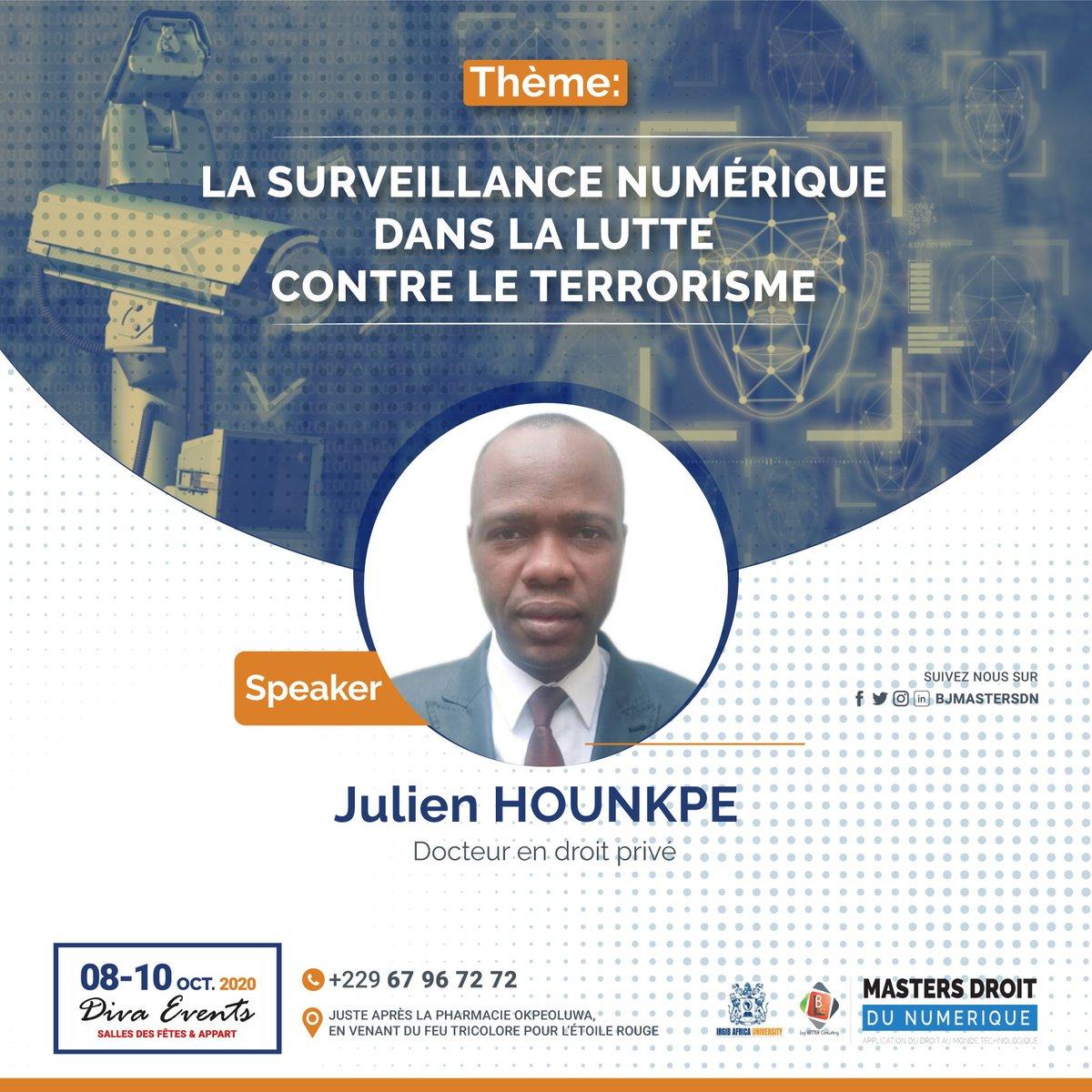 Julien Comlan HOUNKPE est juriste IT, il consulte sur les questions d'encadrement de la criminalité. Il nous renseignerale cadre juridique de la surveillance au Bénin. Obtenez votre pass maintenant 👉https://t.co/Aay8Dg9b8X #droitnumerique #BJMasterDN https://t.co/PRwhwnrQ3L