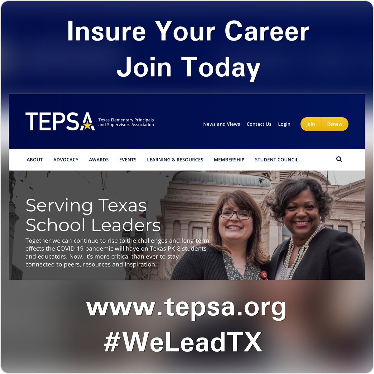 Insure your career and join today @TEPSAtalk! tepsa.org/membership #WeLeadTX #tepsatuesday