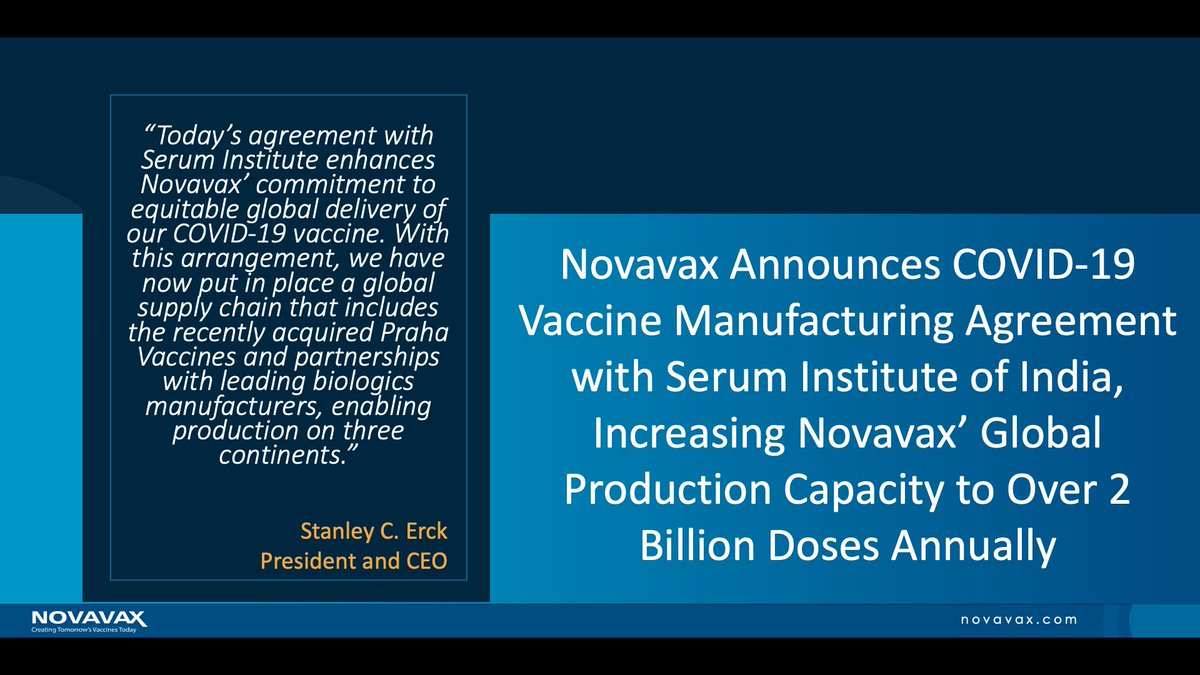 We are pleased to announce an expansion of our agreement with @SerumInstIndia to manufacture antigen for #NVXCoV2373, our #COVID-19 #vaccine candidate. Read today's announcement to learn more: https://t.co/qOYmaBhim9 https://t.co/0cEFT4NCKA