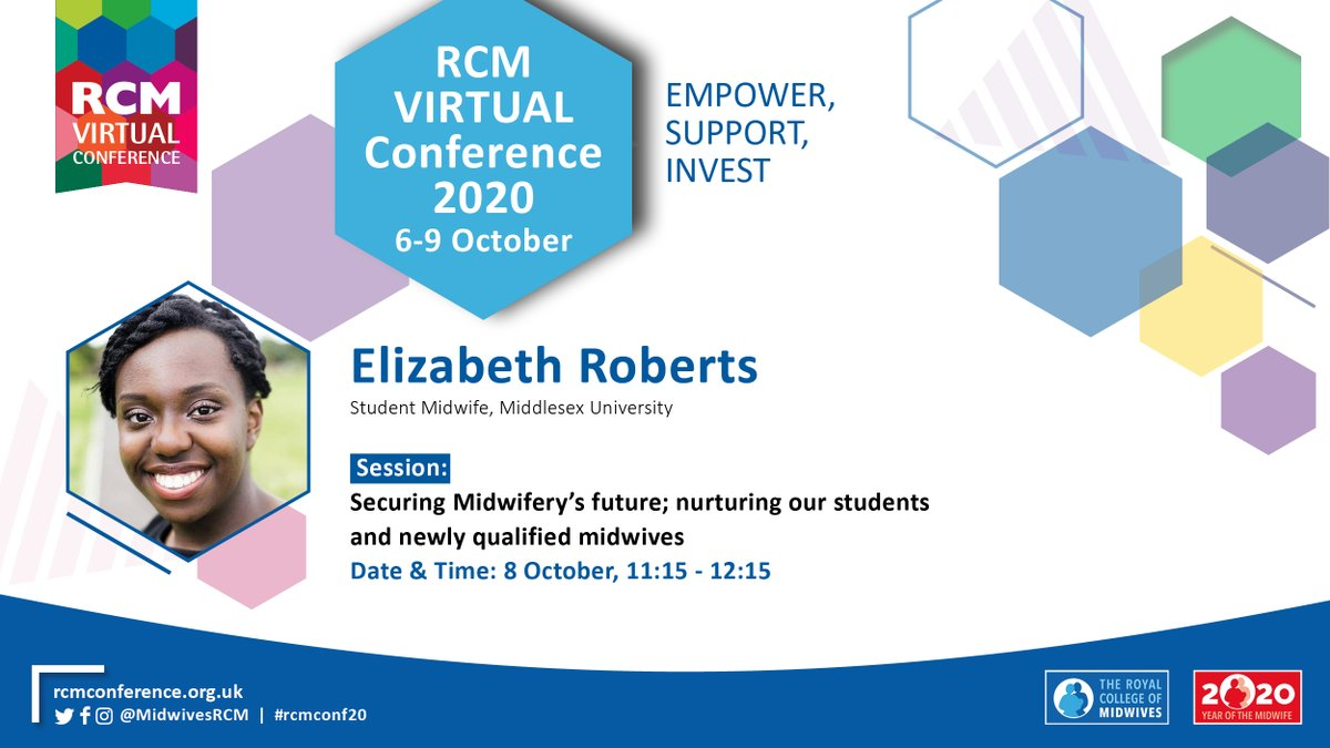 """*SPEAKER ANNOUNCEMENT* @LizzieLRoberts will be speaking at this year's #rcmconf20, joining the conversation on """"Securing Midwifery's future; nurturing our students and newly qualified midwives"""" on 8 Oct at 11.15. Register to attend here: https://t.co/5YylDBLyRq https://t.co/AVoM9DY56V"""